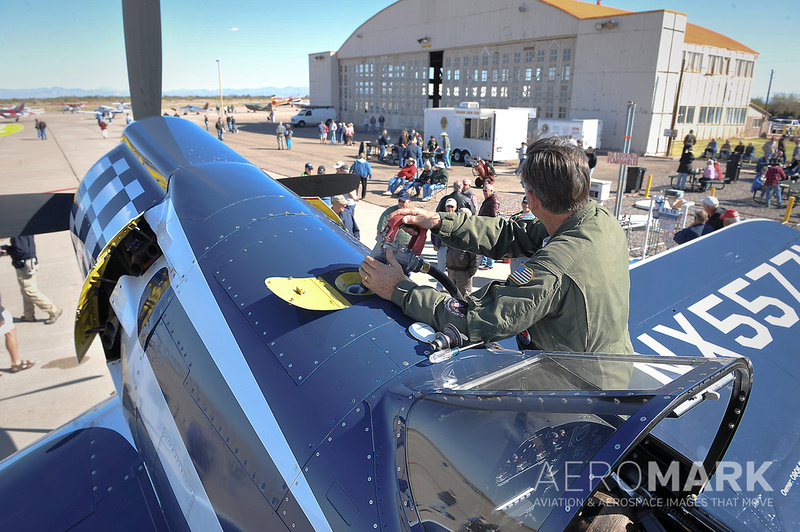 """The F2G-2 """"Super Corsair"""" """"Race 74"""" visits Coolidge, piloted by Bob Odegaard."""